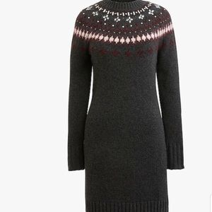 J.Crew Fair Isle Sweater Dress Gray -NWT
